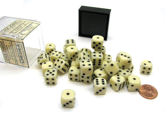 Bloque de 36 D6 Chessex Opaque Ivory/black 12mm
