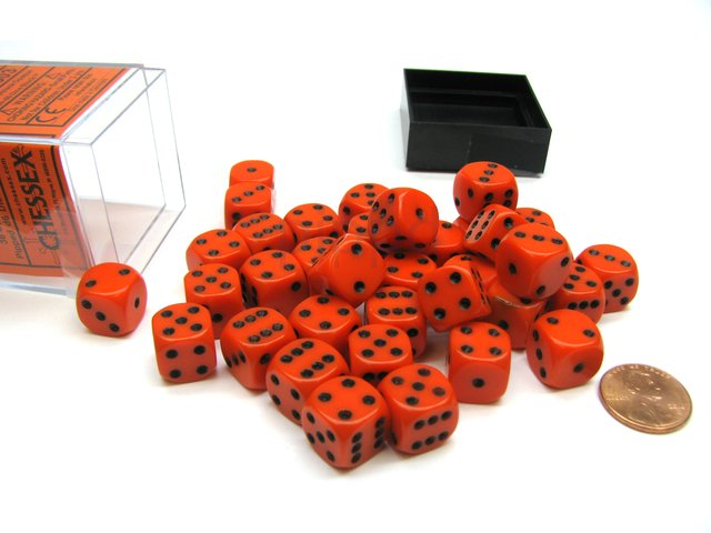 Bloque de 36 D6 Chessex Opaque Orange/black 12mm