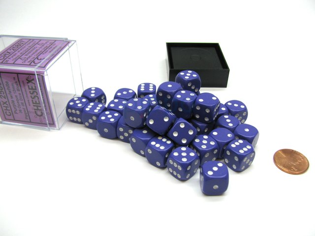 Bloque de 36 D6 Chessex Opaque Purple/white 12mm