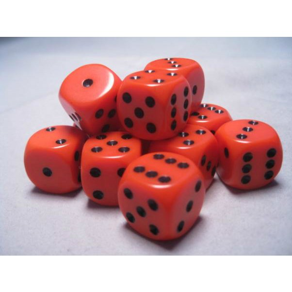 Bloque de 12 D6 Chessex Opaque Orange/black 16mm en internet