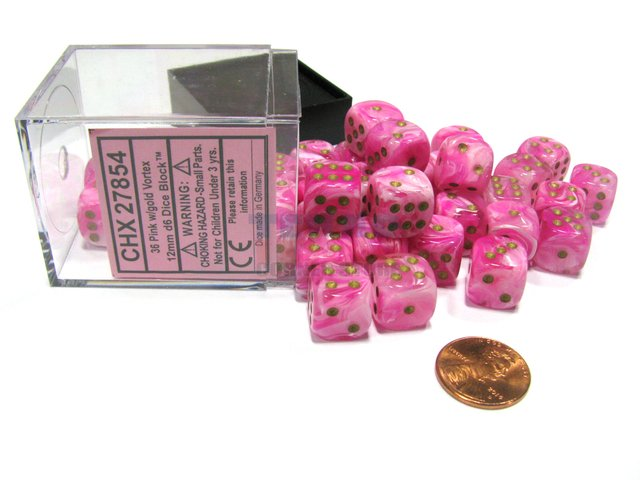 Bloque de 36 D6 Chessex Vortex Pink/gold Dice Block
