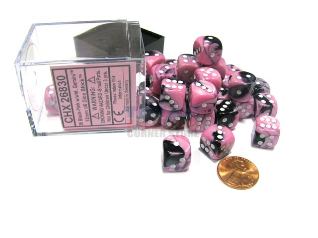 Bloque de 36 D6 Chessex Gemini Black-Pink/white 12mm