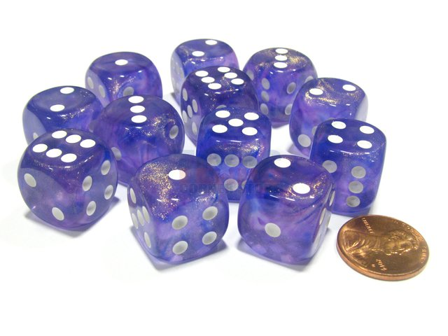 Bloque de 12 D6 Chessex Borealis Purple/white 16mm