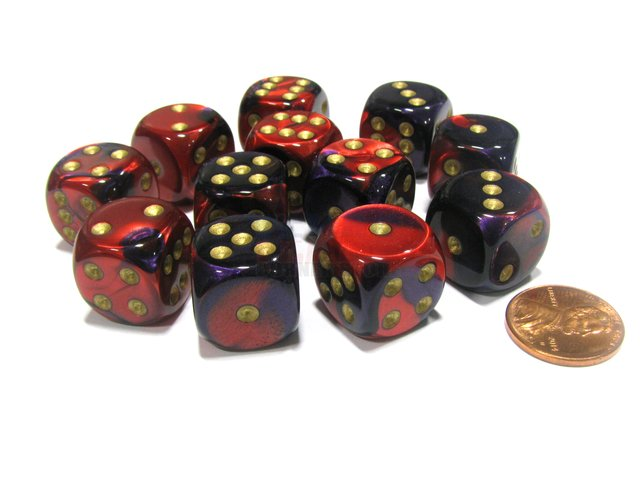 Bloque de 12 D6 Chessex Gemini Purple-Red/gold 16mm