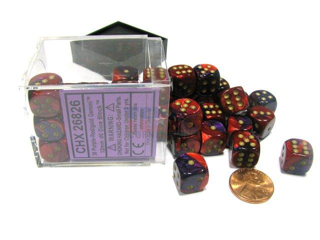 Bloque de 36 D6 Chessex Gemini Purple-Red/gold 12mm