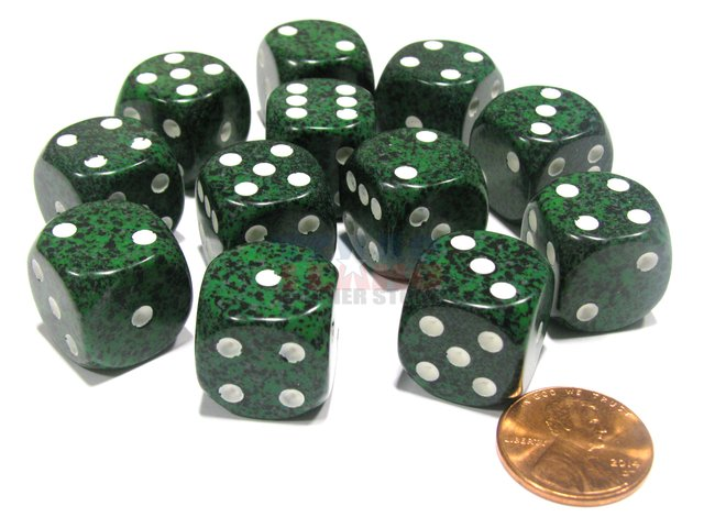 Bloque de 12 D6 Chessex Speckled Recon 16mm