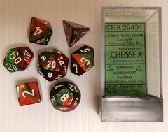 Set de 7 Dados Chessex Gemini Green-Red/white en internet