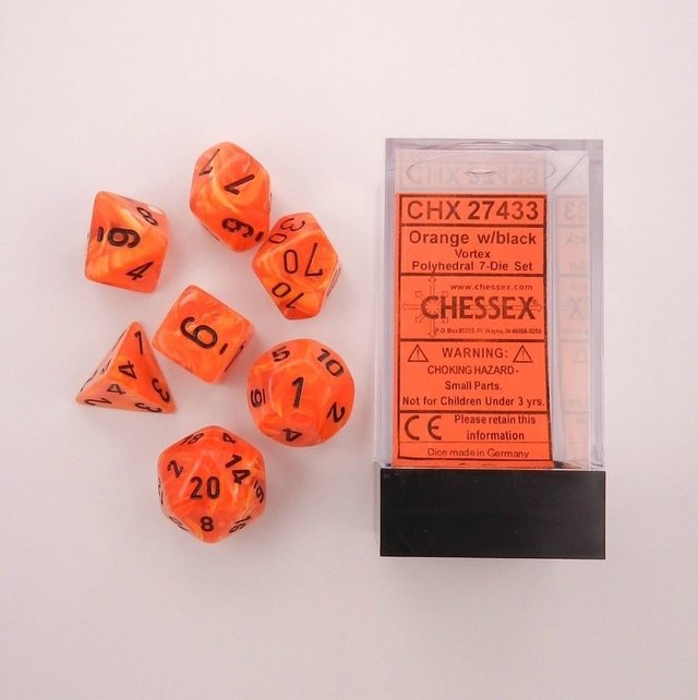 Set de 7 Dados Chessex Vortex Orange/black en internet