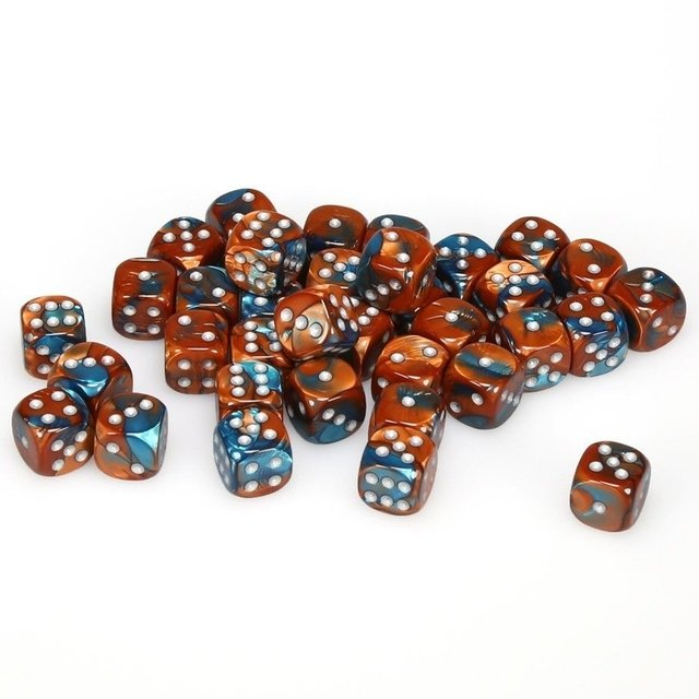 Bloque de 36 D6 Chessex Gemini Copper-Teal/silver 12mm