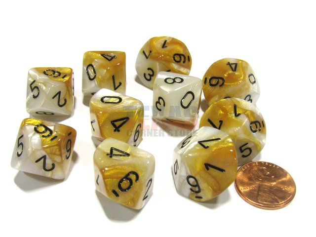 Set de 10 D10 Chessex Gemini Gold-White/black