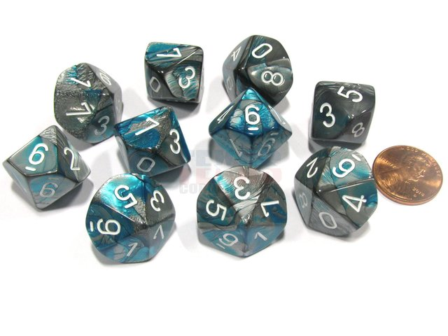 Set de 10 D10 Chessex Gemini Steel-Teal/white