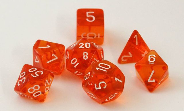 Set de 7 Dados Chessex Translucent Orange