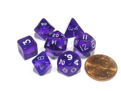 Set de 7 Dados Chessex Miniatura - Translucent Purple with White - comprar online