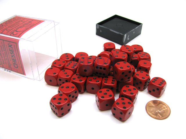 Bloque de 36 D6 Chessex Opaque Red/black 12mm