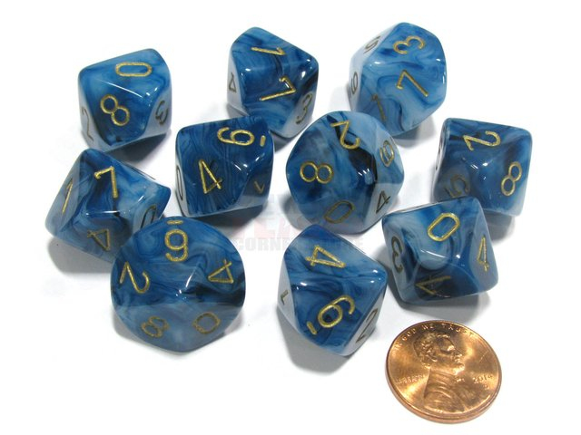 Set de 10 D10 Chessex Phantom Teal/Gold