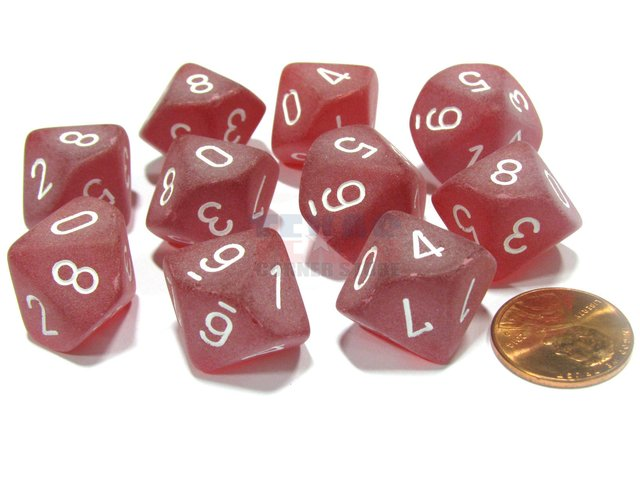 Set de 10 D10 Chessex Frosted Red/white - comprar online