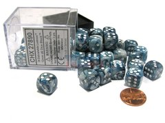 Bloque de 36 D6 Chessex Lustrous Slate/white 12mm