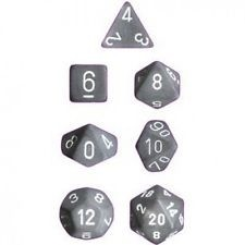 Set de 7 Dados Chessex Frosted Smoke/White - EL OGRO ALEGRE