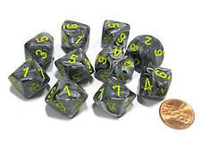 Set de 10 D10 Chessex Vortex Black/Yellow