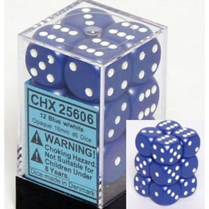 Bloque de 12 D6 Chessex Opaque Blue/white 16mm en internet