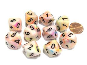 Set de 10 D10 Chessex Festive Circus/black
