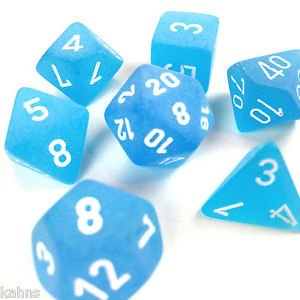 Set de 7 Dados Chessex Frosted Caribbean Blue/White - tienda online