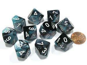 Set de 10 D10 Chessex Gemini Black-Shell/white