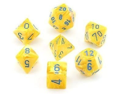 Set de 7 Dados Chessex Vortex Yellow/Blue - tienda online