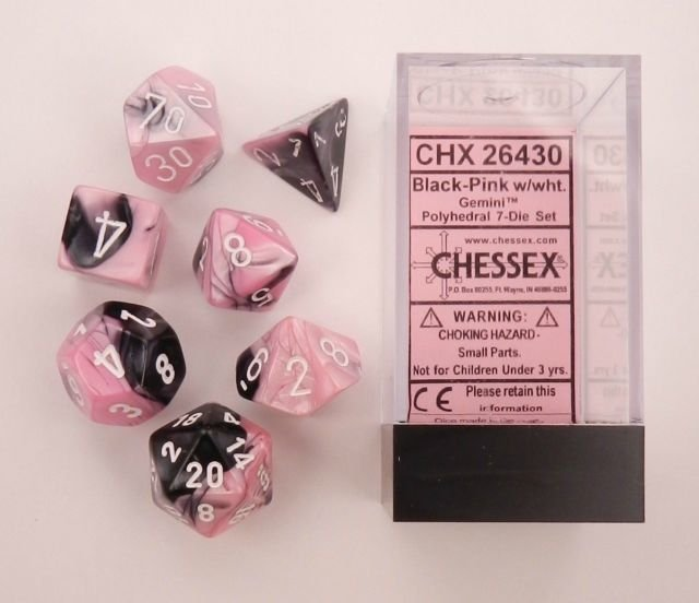 Set de 7 Dados Chessex Gemini Black-Pink/White en internet