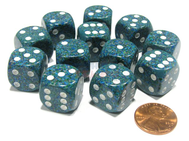 Bloque de 12 D6 Chessex Speckled Sea 16mm