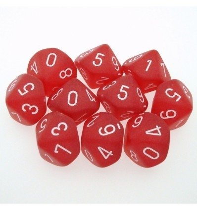 Set de 10 D10 Chessex Frosted Red/white en internet