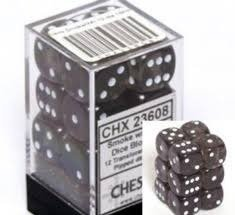 Bloque de 12 D6 Chessex Translucent Smoke/white 16mm  - EL OGRO ALEGRE