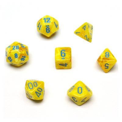 Set de 7 Dados Chessex Vortex Yellow/Blue - EL OGRO ALEGRE
