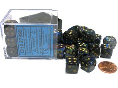 Bloque de 36 D6 Chessex Lustrous Shadow/gold 12mm