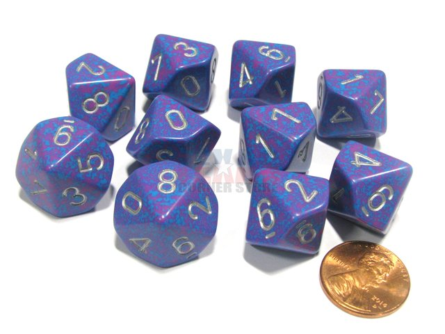 Set de 10 D10 Chessex Speckled Silver Tetra