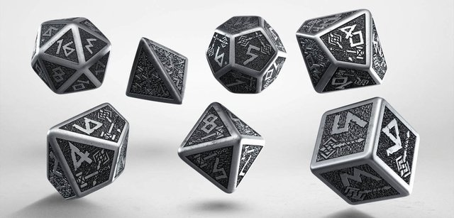 Set de 7 Dados Q-Workshop Dwarven Metal & Black