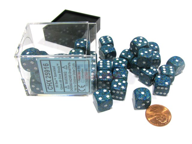 Bloque de 36 D6 Chessex Speckled Sea 12mm