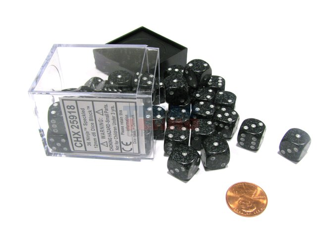 Bloque de 36 D6 Chessex Speckled Ninja 12mm