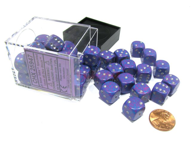 Bloque de 36 D6 Chessex Speckled Silver Tetra 12mm