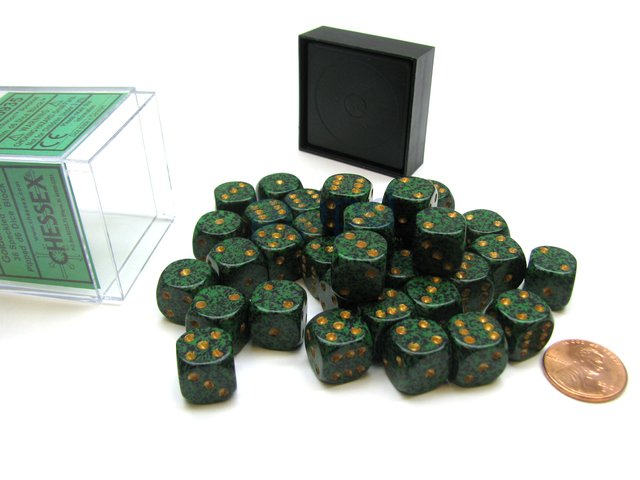 Bloque de 36 D6 Chessex Speckled Golden Recon 12mm