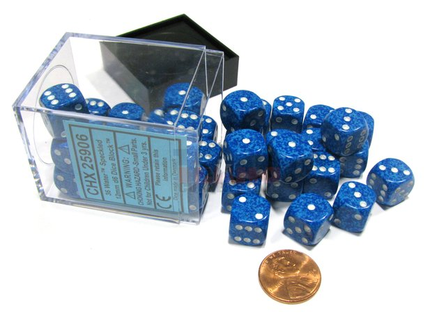 Bloque de 36 D6 Chessex Speckled Water 12mm