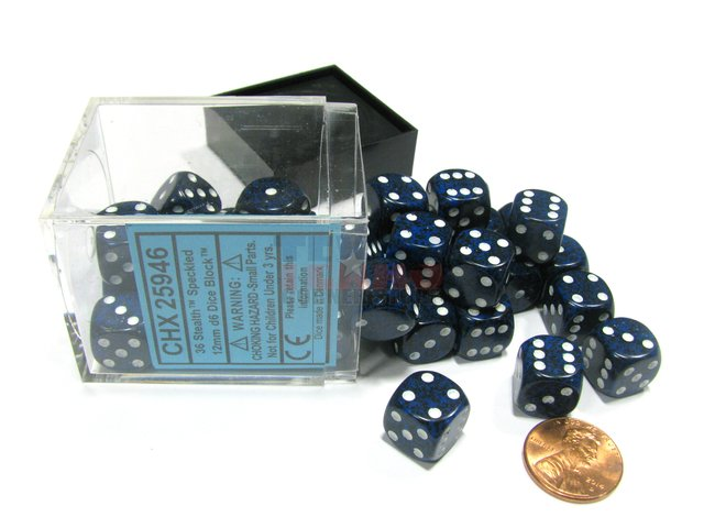 Bloque de 36 D6 Chessex Speckled Stealth 12mm