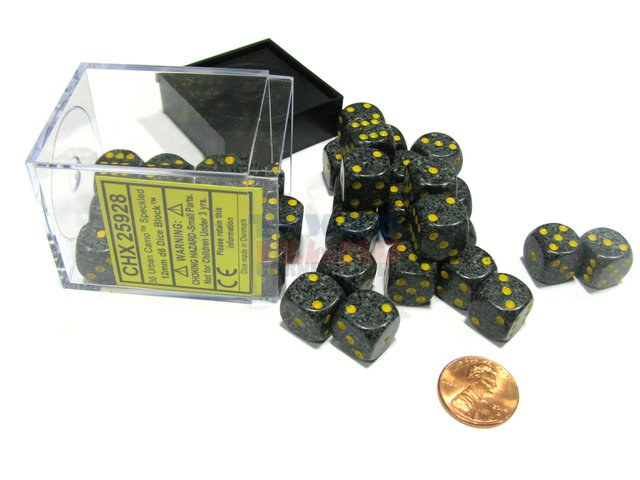 Bloque de 36 D6 Chessex Speckled Urban Camo 12mm