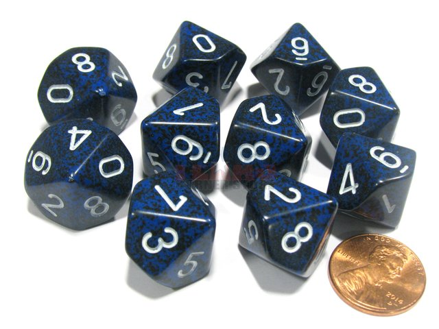 Set de 10 D10 Chessex Speckled Stealth