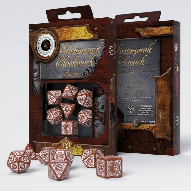 Set de 7 Dados Q-Workshop Steampunk Clockwork Caramel & White - comprar online