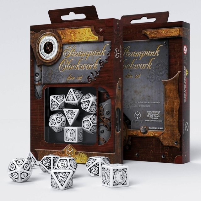 Set de 7 Dados Q-Workshop Steampunk Clockwork White & Black - comprar online