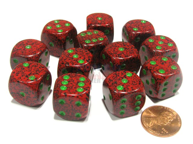 Bloque de 12 D6 Chessex Speckled Strawberry 16mm