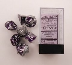 Set de 7 Dados Chessex Gemini Purple-Steel/White en internet
