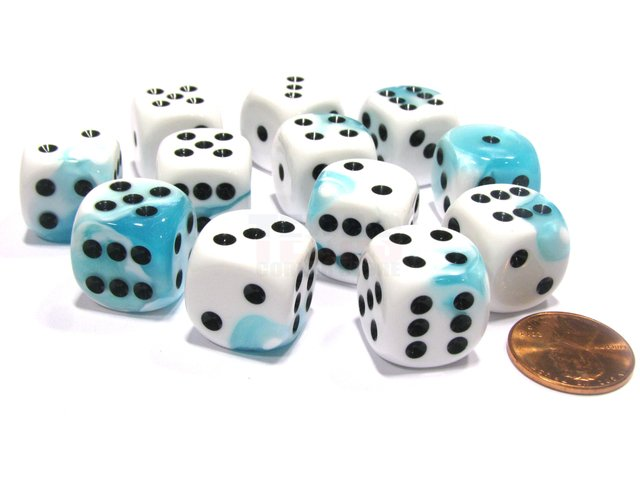 Bloque de 12 D6 Chessex Gemini Teal-White/black 16mm
