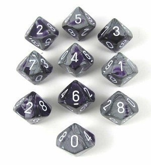 Set de 10 D10 Chessex Gemini Purple-Steel/white - comprar online